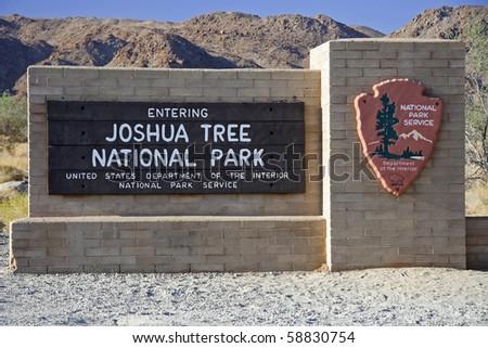 Entrance to Joshua Tree National Park, California - stock photo