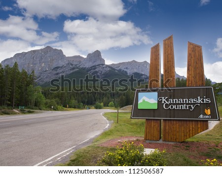 Entrance to Kananaskis Country, part of Banff National Park, Alberta, Canada - stock photo
