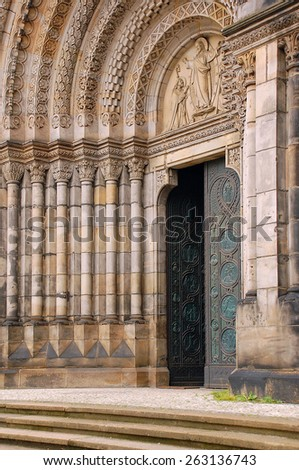 Entrance to medieval Cyril and Methodius catholic church in Prague, Czech Republic - stock photo