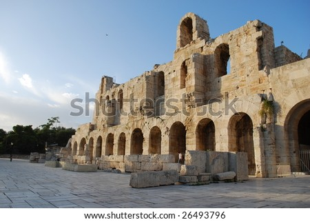 Entrance to Odeon of Herodes Atticus, Acropolis, Athens, Greece - stock photo