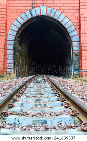 Entrance to railway tunnel old  - stock photo