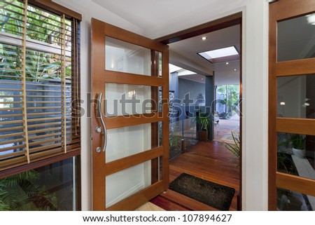 Entrance to stylish modern home - stock photo