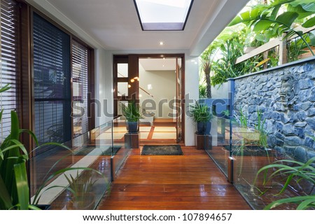 Entrance to stylish modern home - stock photo