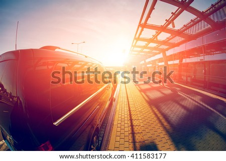Entrance to the airport - stock photo