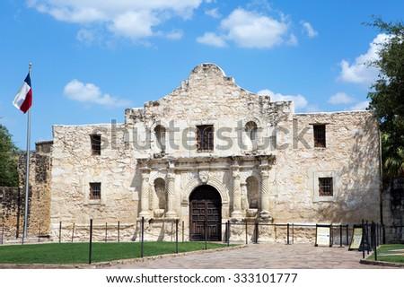 Entrance to The Alamo in San Antonio, Texas, USA. - stock photo