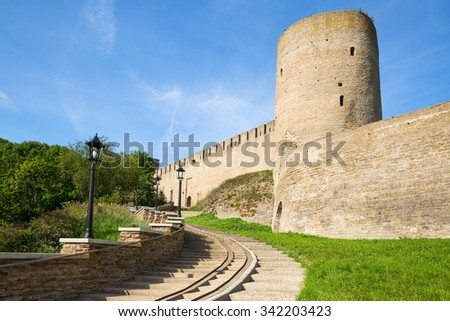 Entrance to the ancient fortress of Ivangorod - stock photo