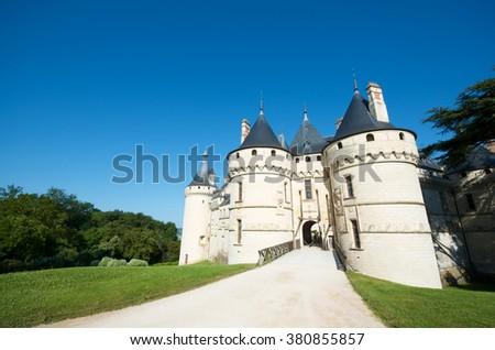 Entrance to the castle of Chaumont Sur Loire, Loire Valley, France. - stock photo