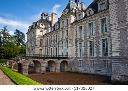 entrance to the Chateau Cheverny, Loire Valley, France. - stock photo
