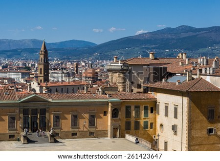 Entrance to the Costume Gallery in Pitti Palace and view of the city on background. Boboli Gardens, Florence, Tuscany, Italy. Unesco World Heritage site.  - stock photo