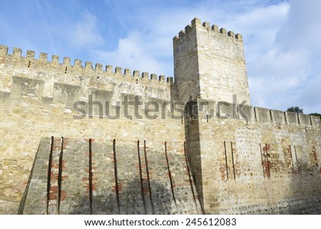 Entrance to the keep of the castle of San Jorge, Lisbon, Portugal. - stock photo