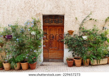 Entrance to the old French house and potted flowers. - stock photo