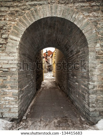 Entrance to the old town street, Tallinn, Estonia - stock photo