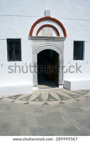 Entrance to the Orthodox Church on the island of Rhodes 