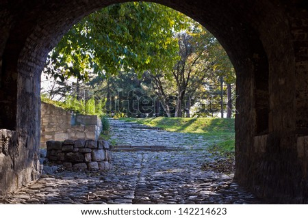 Entrance to the park from a Kalemegdan fortress gate, Belgrade, Serbia - stock photo