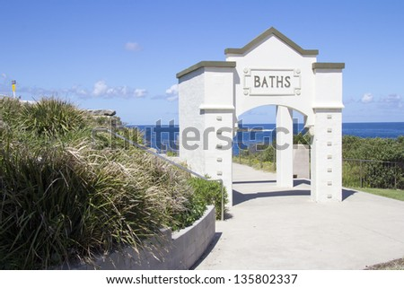 Entrance to the rockpool area of Coogee beach, Eastern Suburbs, New South Wales, Sydney - stock photo