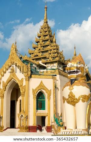 Entrance to the The Shwedagon Pagoda, Yangon, Myanmar. - stock photo