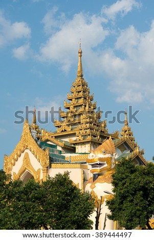 Entrance to the The Shwedagon Pagoda, Yangon, Myanmar. - stock photo