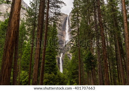 Entrance to the upper and lower Yosemite Falls trails. - stock photo