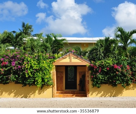 Entrance To Tropical Property - stock photo