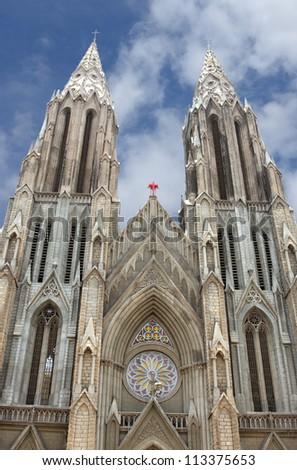 Entrance towers of St. Philomena's Church, Mysore - stock photo