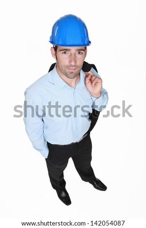 Entrepreneur standing on white background - stock photo