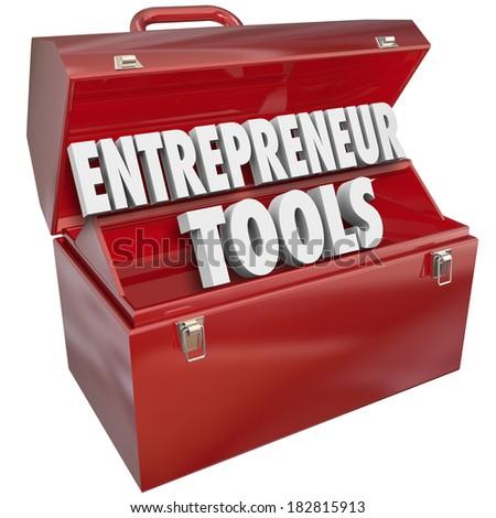 Entrepreneur Tools Toolbox Skills Knowledge Tips Ideas - stock photo