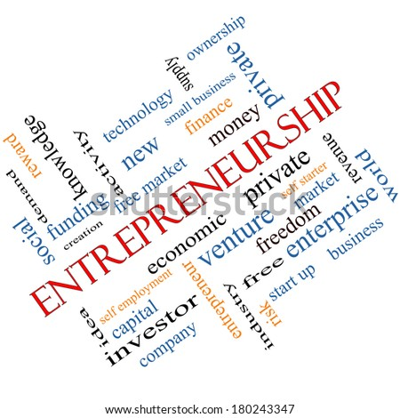 Entrepreneurship Word Cloud Concept angled with great terms such as economic, private, venture and more. - stock photo
