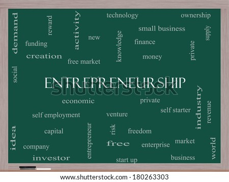 Entrepreneurship Word Cloud Concept on a Blackboard with great terms such as economic, private, venture and more. - stock photo
