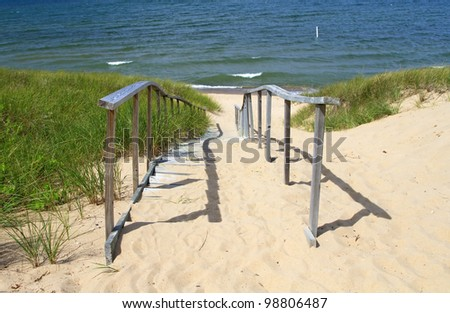 Entry to Oval Beach -- Saugatuck, Michigan, USA - stock photo
