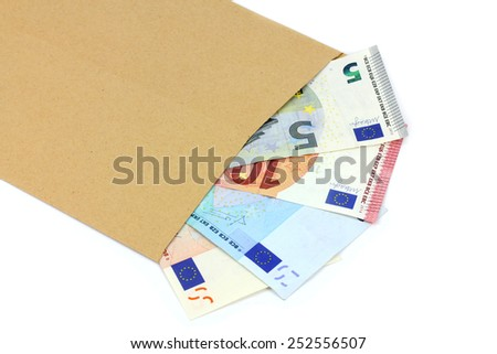 envelope and money on a white background - stock photo
