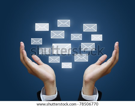 envelope in business hand - stock photo