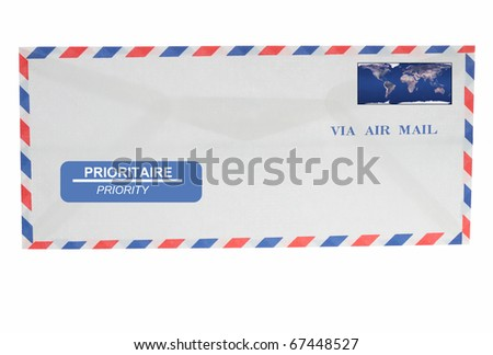 Envelope isolated in white background - via air mail priority - stock photo