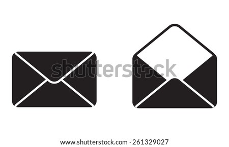 Envelope Mail Icon or sign. Blank open envelope illustration.  - stock photo