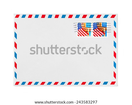 Envelope on white background - stock photo