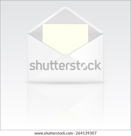 Envelope. Open with blank paper with reflection. Raster version - stock photo