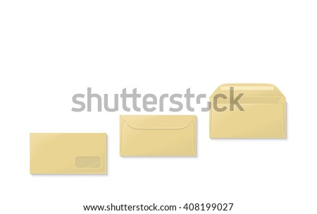 Envelope set open and close design flat. Letter mail envelope template icon, yellow envelope, invitation open or close envelope  illustration - stock photo