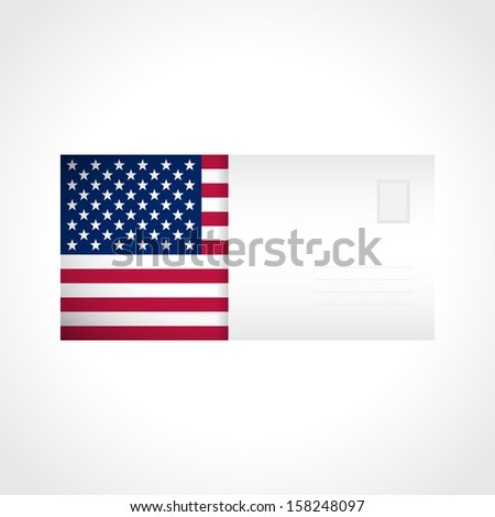 Envelope with American flag card for your design (raster illustration) - stock photo