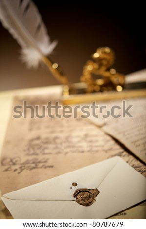 Envelope with an old wax stamp - stock photo