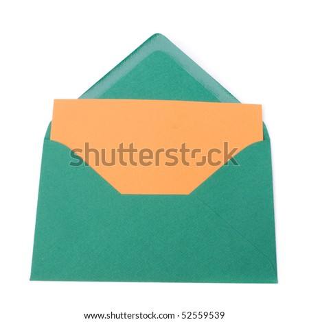 envelope with card isolated on white background - stock photo