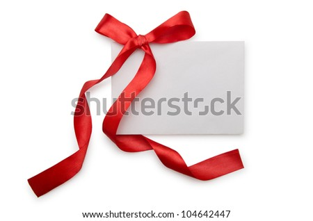 Envelope with colourful ribbon on white - stock photo