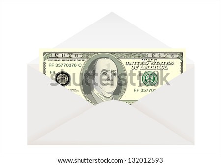 Envelope with dollar isolated on white - stock photo