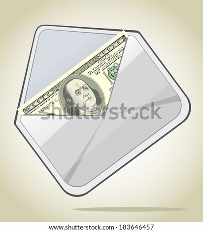 Envelope with dollars - stock photo