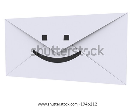 Envelope with :) printed on it - stock photo