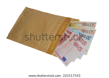 Envelope with some banknotes inside. Bribe and corruption concept - stock photo