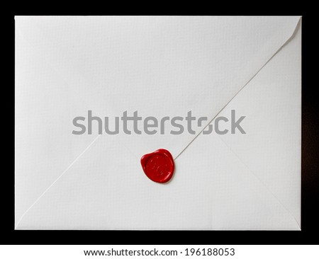 Envelope with wax seal. wedding invitation - stock photo