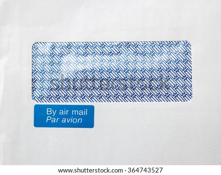 Envelope with window and By air mail, par avion blue sticker - stock photo