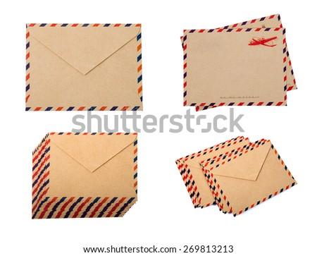 Envelopes isolated on white background - stock photo