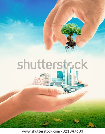 Environment concept. Eco Friendly Ecological City World Ecology Day Trust Alternative Learning Prosper Education CSR Charity Safe Guide Belief Support Share Earth Bio Gig Tree Grow God Grass Village - stock photo