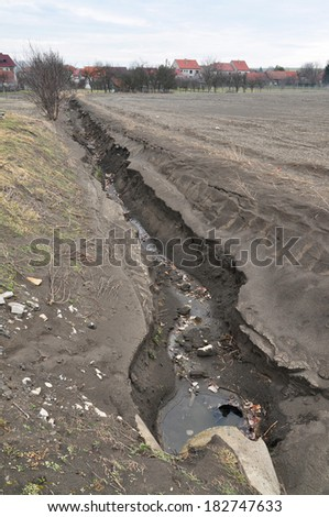 Environment destruction, soil earth erosion. - stock photo