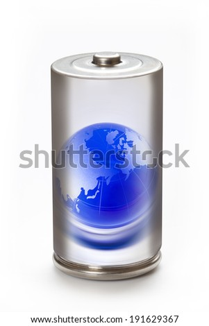Environment image of a globe and eco battery - stock photo
